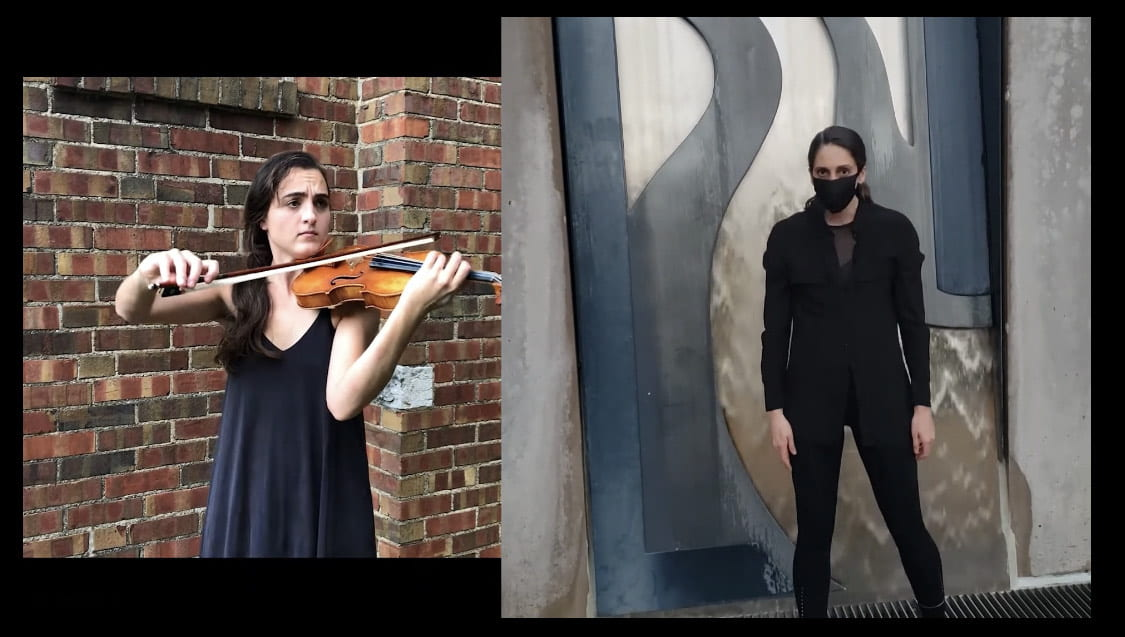 on the left devin copfer holds her violin and on the right laura puscas the executive and artistic director of COMO stands for the photo