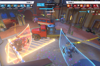Ohio State's team and Florida Atlantic's team set up shields opposite one another in an Overwatch match.