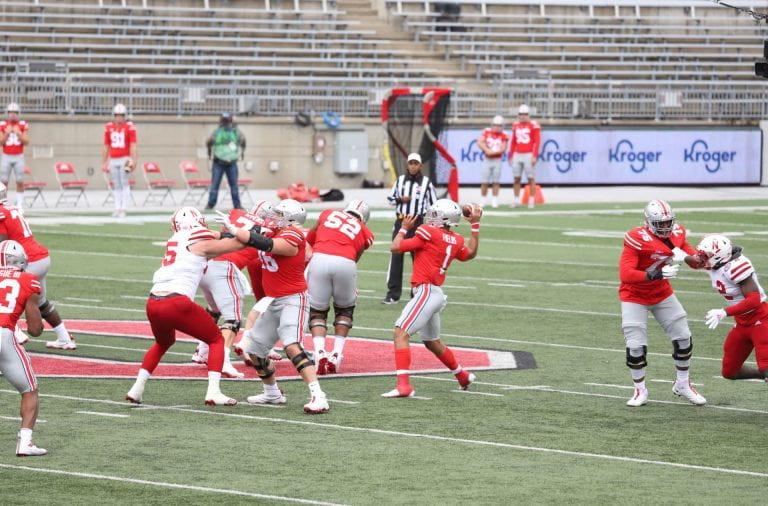 Fields prepares to throw a pass against Nebraska.