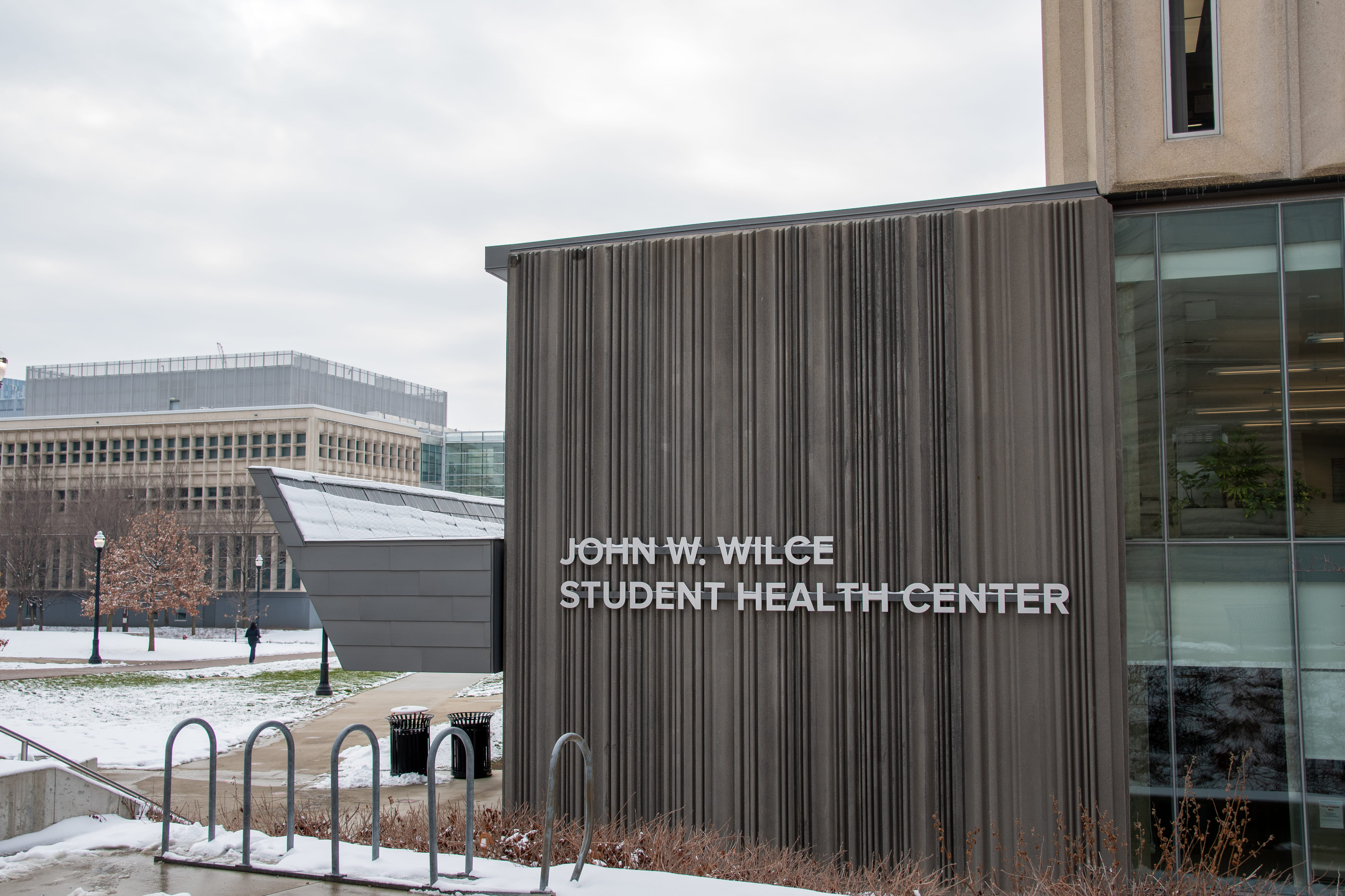 A photo of the Wilce Student Health Center in the snow