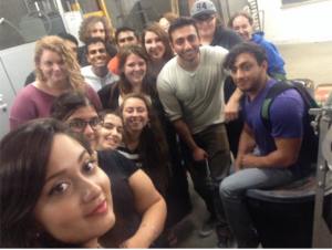 Many of the Fall 2014 worm lab students gathered in Stony Brook University's Life Science Greenhouse.