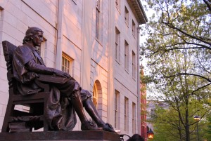John Harvard statue, Harvard University campus, Boston, Massachusetts.