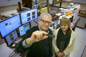 Stony Brook, NY; Stony Brook University: Professor Gordon Taylor with slides containing molecules of marine life. He and lab technician Tatiana Zaliznyak use high-powered Raman microspectrometry and atomic force microscopy to examine marine life at minute scales not possible before.