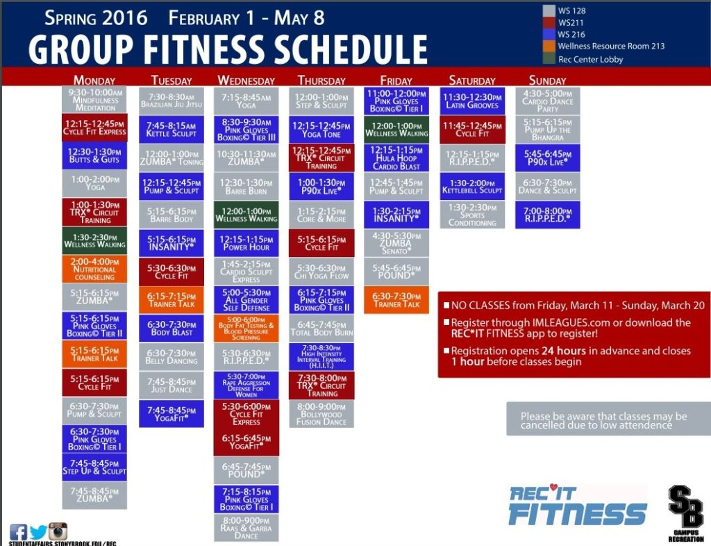 Campus Recreation Fitness & Wellness | Group Fitness Schedule