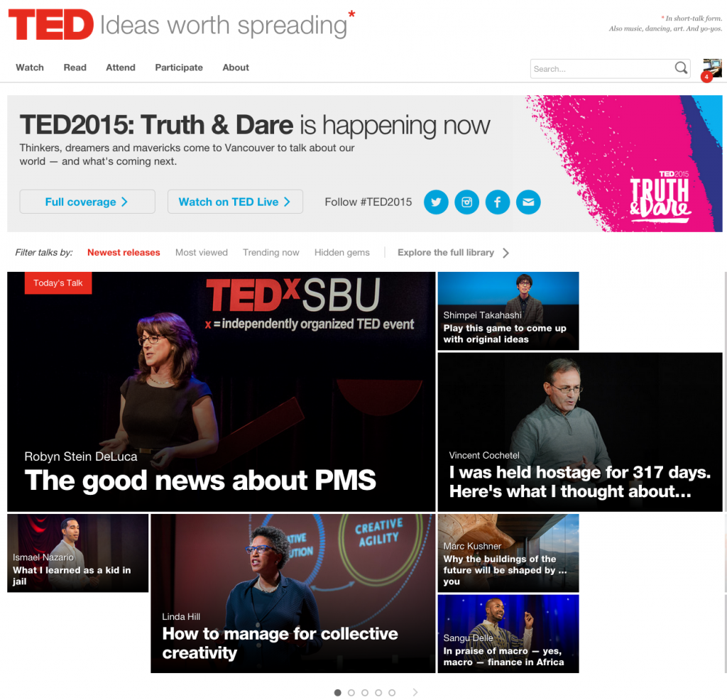 screen shot of ted.com on day that robyn's talk is on it.