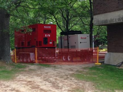 Image of power generators running outside the ECC Building