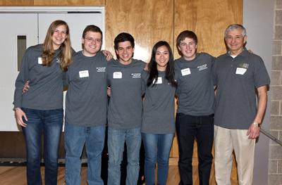 Mount Sinai High School Team (left to right): Julia Eberhard, Patrick McKeown, Ethan Donowitz, Camille Jwo, team captain Nicholas O'Mara, coach David Chase.