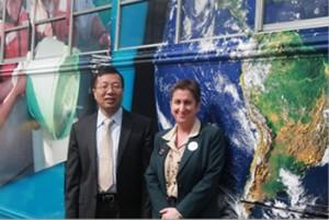 SoMAS Dean Minghua Zhang and Senior Vice-President for Administration Barbara Chernow