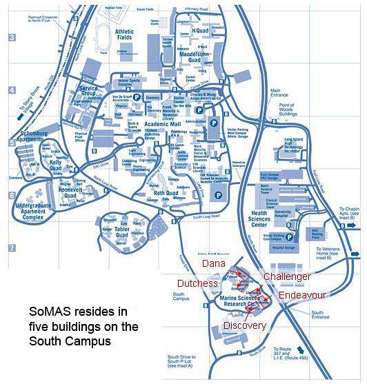 Stony Brook Campus Map Directions | SoMAS Stony Brook Campus Map