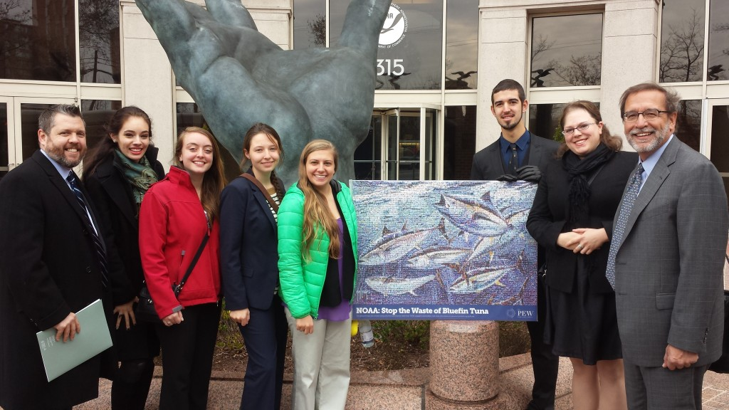 The Pew team in front of the NOAA headquarters!  Left to right: Thomas Wheatley, Arianna Garutti, Jenna Schwerzmann, Emily Markowitz, Emma Cottone and Guillermo Ortuno Crespo from Rollins College, Taegan McMahon, and Lee Crockett.