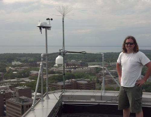 E-Shop Assistant Alex Sneddon after completion of the HSC Weather Station in June 2013. (photo by Tom Wilson)
