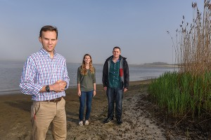 (Left to right):  Stony Brook University School of Marine and Atmospheric Sciences Professor Christopher Gobler, PhD and graduate students/Pond Stewards Jennifer Jankowiak and Ryan Wallace launch research project on Georgica Pond water quality, Wainscott, NY.