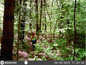 Photo 2. Photographic data from camera trap. The cameras take pictures of people as they pass into the park. This camera-trap photo shows Alex VanLoo, who received funding from the Friends of Ashley Schiff, entering the park.