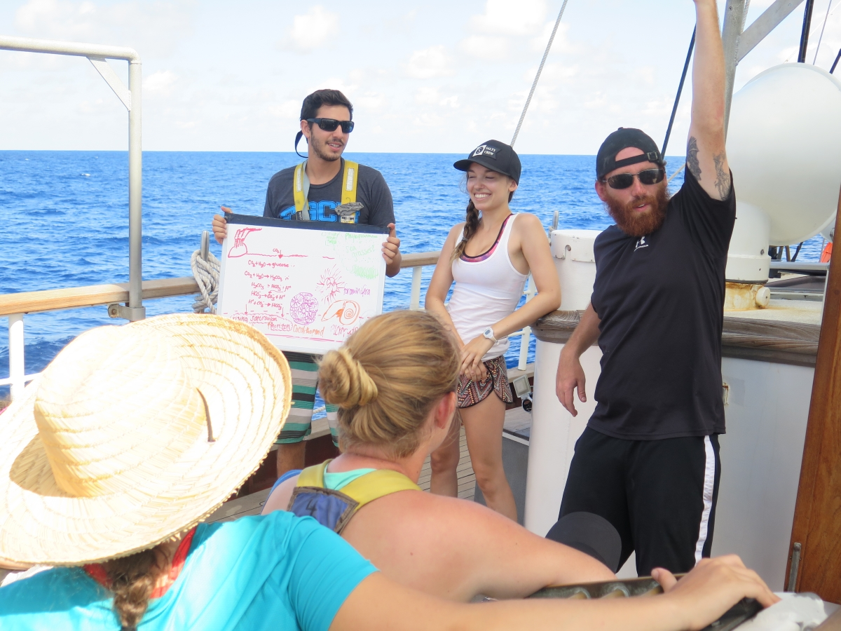 Alexandra and two of her crewmates, giving a presentation in class on the quarterdeck on ocean acidification.