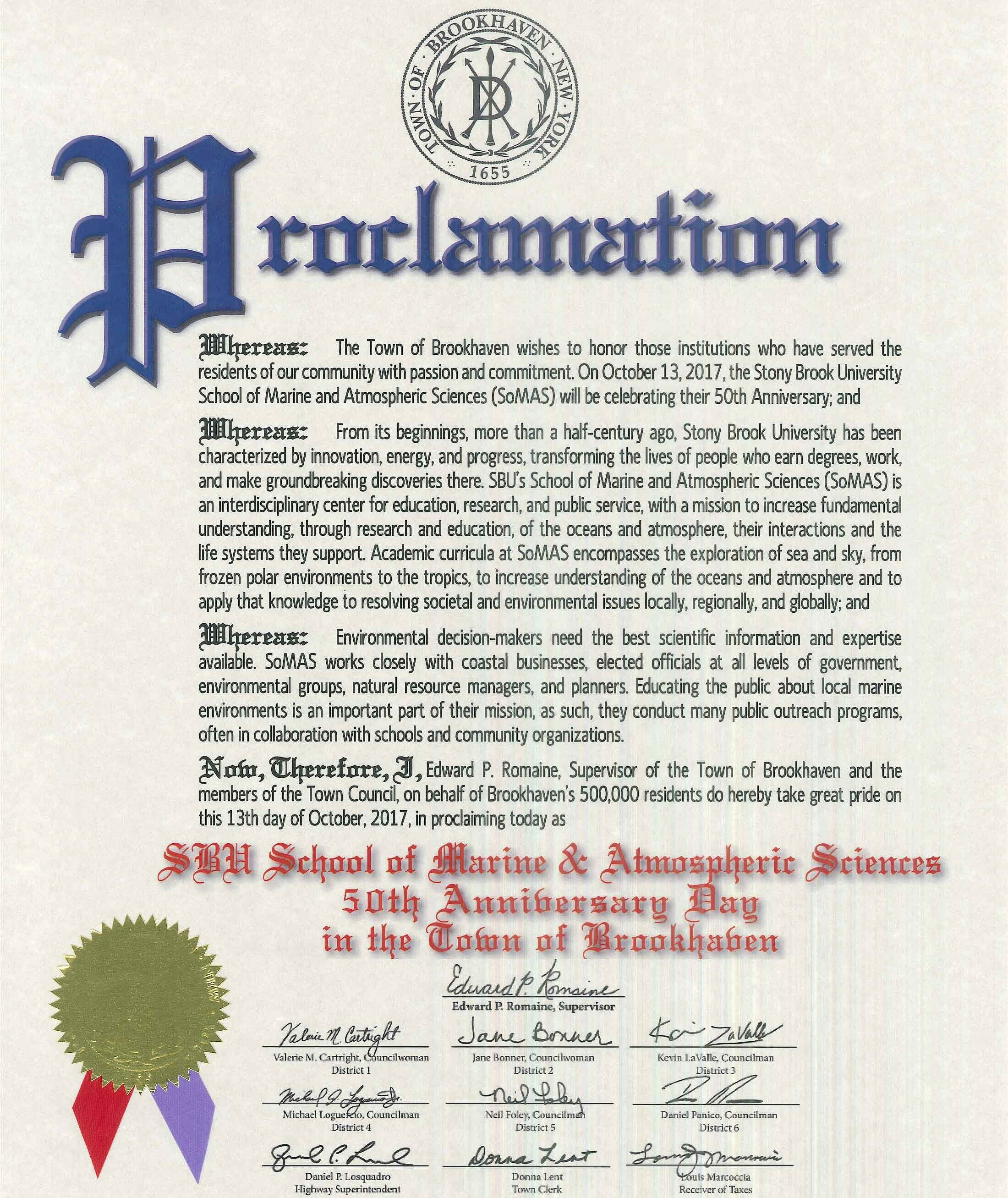 Town of Brookhaven Proclamation