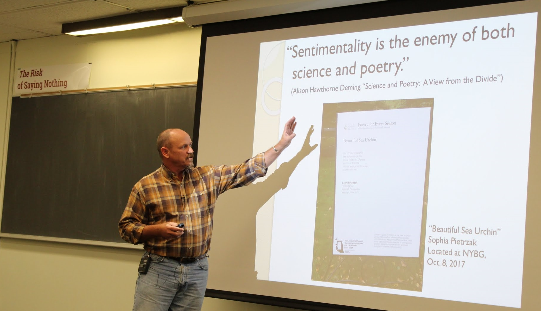 SoMAS Sustainability Studies Faculty David Taylor reminds the audience about how poetry has always played an important role in our scientific communication