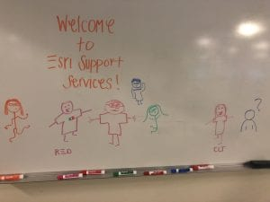A whiteboard welcomes you to ESRI Support Services