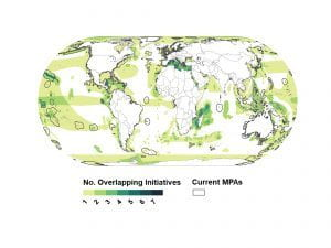 This map depicts areas of the ocean globally deemed important by 1 (lightest green) and 7 (darkest green).