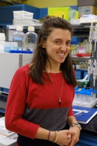 Graduate Student Mariana Ruis in the lab.
