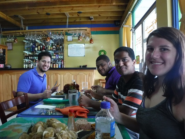 Phenix, Andrew, Albert and myself enjoying our lunch in Ocho Rios.