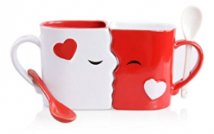 Buy Kissing Mugs Set with Two Large Cups and Matching Spoons for Him and Her at Amazon.com