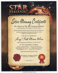 Buy Star Naming Official Certificate Gift at Amazon.com