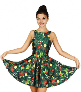 Buy Jescakoo Bright Print Pleated Skater Tank Dress for Christmas Party Costume at Amazon.com