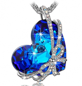 "Buy ""Heart of the Ocean"" Bowtie Pendant Necklace with SWAROVSKI Crystal on Amazon.com"