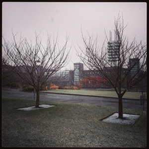 Snow outside the Admin & Wang buildings on campus
