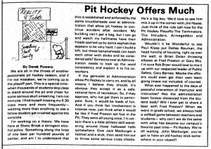 pit hockey editorial 1988