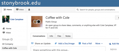 Coffee with Cole in Yammer
