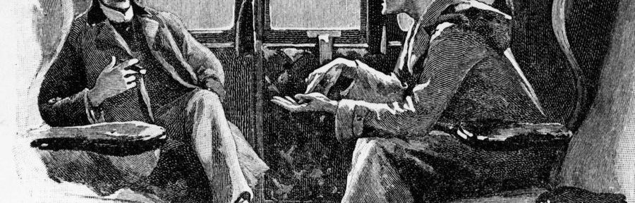 Original Strand artwork depicting Sherlock Holmes and Dr. Watson traveling by train.