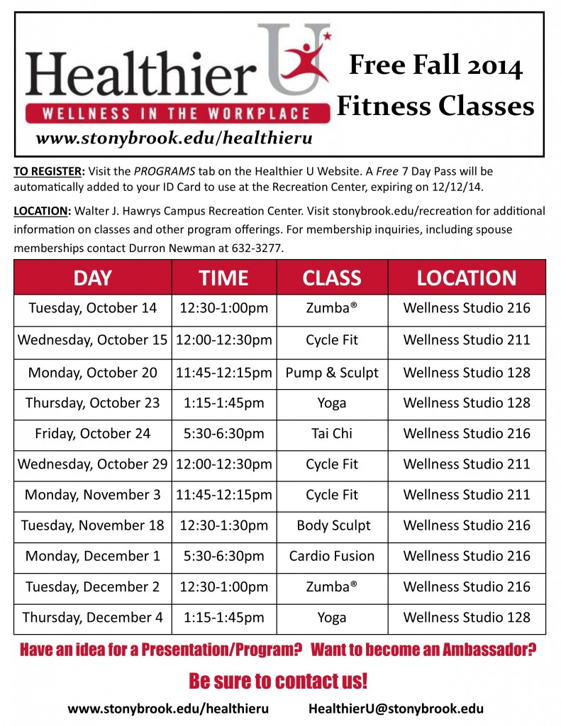 HU Fall 2014 Fitness Classes