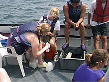 Undergraduate students aboard the R/V Onrustparticipated in the summer REU program, in whichatmospheric measurements were taken to study air-sea interaction and sea breeze circulations.