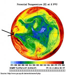 Tropopause PV 1200 UTC 31 Oct 2014