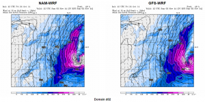 NAM-WRF and GFS-WRF 48-h Surface Wind Forecast