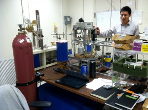 Zhihui Wang (former lab member) working with the ice core analytical system.